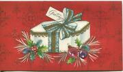Vintage Christmas White Blue Gold Gift Box Ornaments Red Colors Greeting Card