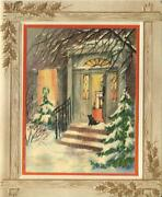 Vintage Christmas Snow Winter House Black Scotty Dog Trees Open Door Mcm Card A