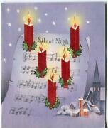 Vintage Christmas Silent Night Red Candles Purple Village Flocked Greeting Card