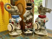 Vintage 1968 Jim Beam Donkey And Elephant Democrat And Republican Clown Decanters
