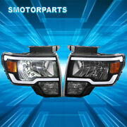 1 Pair Front Led Drl Headlights Headlamps Assembly For 2009-2014 Ford F-150