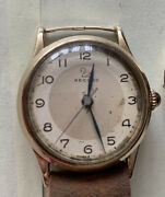 Vintage Record Hand Winding Solid Gold Gents Watch Military Movement 022-18 16 J
