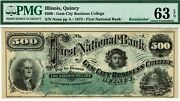 Quincy Illinois 500 First National Bank Pmg 63 Epq Choice Uncirculated. Beehive