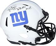 Phil Simms Giants Signed Eclipse Alternate Authentic Helmet And Sb Xxi Mvp Insc