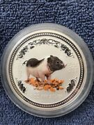 2007 Year Of The Pig - Colorized - 5 Oz. 999 Fine Silver Round - Perth Mint