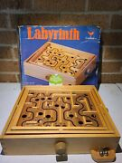Vintage Labyrinth Wooden Puzzle Maze Game Wood . Skill Game Has Balls
