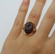 Antique Sard Classical Intaglio Oval Cabochon 14k Rose Gold Ring Size 7
