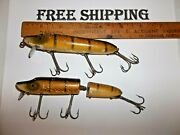 Heddon Vamp And Jointed Vamp Lot Of 2 Vintage Fishing Lures Tackle Box Find Used