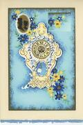 Vintage Clock Cameo Silhouette Blue Flowers Aesthetic Collage Picture Art Print