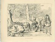 Antique Medieval Ages Hunting Forest Horse Sled Raven Birds Bones Woodcut Print