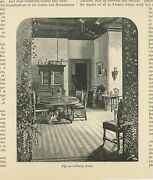 Antique Gothic Renaissance Dining Room Chair Table Ivy Plants Small Old Print