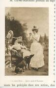 Antique Victorian Woman Wicker Chair Greyhound Dogs Terrace Small Art Print