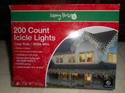 200 Ct Icicle Lights Clear White Wire New In Box