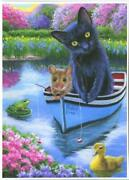 Aceo Black Cat Mouse Fishing Frog Lily Pad Duckling Garden Pond Boat Fauna Print