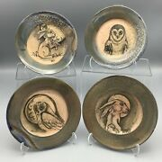 Rose Esson-dawson Red Studios Wood Fired Pottery Illustrated Owl Rabbit Plates