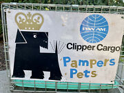 Rare Pan Am Airlines Clipper Cargo Pampered Pets Sign With Crate Mid Century