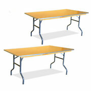2 Wedding Party Dining Table 6' Rectangle Heavy Duty Wood Banquet Folding Table