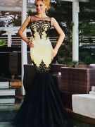 Size 8 Gold/black Sexy Sequin Long Evening Dress