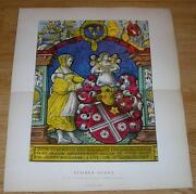 Antique H/c Stained Glass Samuel Book Of Kings Death Of Absalom Joab Horse Print