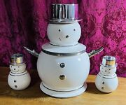 Slatkin Limited Edition Snowman Cookie Jar Canister W/lid. Plus 2 Candle Holder