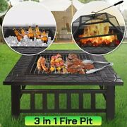 Fire Pit Outdoor Patio Backyard Wood Burning Fireplace Heater Stove Steel Cover