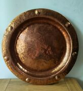 Antique Arts And Crafts Movement Copper Charger Tray By Lombard