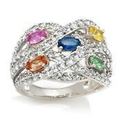 Hsn Victoria Wieck Colors Of Sapphire And White Topaz Dome Ring 6 498
