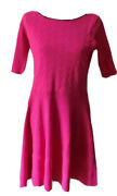 Neon Bright Pink Skater Dress Large 3/4 Sleeves Form Fitted Eliza J Nordstrom's