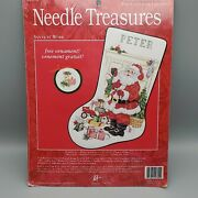 Needle Treasures Santa At Work Counted Cross Stitch Stocking Ornament 02890