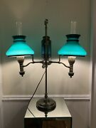 1879 Manhattan Brass Co. Student Lamp, Green Shades, Electrified. Very Nice 24