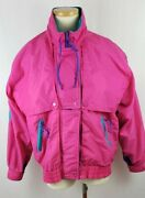 1980and039s Womenand039s Cabin Creek Neon Color Block Jacket Size S Outer Pockets Full Zip