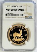 2000 Gold South Africa Proof Krugerrand 1oz Ngc Pf 69 Ultra Cameo