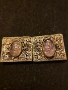Antique Chinese Hand Carved Amethyst/lavender Jade Silver/copper Filigree Panels