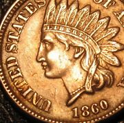 Old Us Coins 1860 Indian Head Cent Highgrade Copper Nickel Penny
