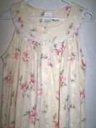 Aria Nightgown Womenand039s Pale Yellow Floral Summer 100 Cotton Sleeveless Nwot