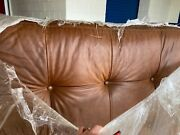 Vintage Pottery Barn Brown Italian Leather Footstool Ottoman No Mailing