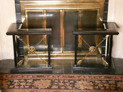 Maitland Smith Pair L Shaped Leather Brass Arrow Lion Face Fireplace Fenders