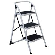 Home Use 3-step Short Handrail Iron Ladder Portable Safety Tread Step Stool