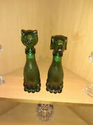 Vintage 50/60's Empoli Dog And Cat Decanter Pair Excellent