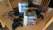 Black Xbox 360 W/ 2 Wireless Remotes Steering Wheel Kinect And 23 Games
