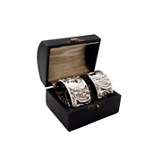 Pair Of Antique Victorian Sterling Silver Napkin Rings In Case 1897