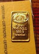 Lot Of Five 1g Gold Bar Set Coa And Protective Holder .9999 Pure Metal 24k L@@k