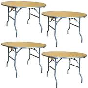 Round Folding Table 36 In Indoor Outdoor Dining Party Office Wood Tables 4 Pack