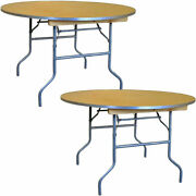 Round Folding Table 60 In Indoor Outdoor Dining Party Office Wood Tables 2 Pack