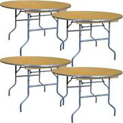 Round Folding Table 60 In Indoor Outdoor Dining Party Office Wood Tables 4 Pack