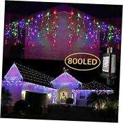 38.8ft 400 Led Icicle Lights 2 Pack Christmas Icicle Lights 800 Led Multiclor