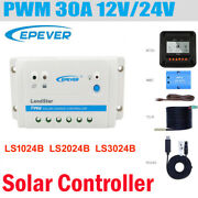 Epever Pwm 30a 20a 10a Solar Panel Regulator Charge Controller Lcd 12v 24v Us