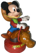 Vintage Disney Arco Toys Wind Up Rodeo Cowboy Mickey Mouse Riding A Bull1980and039s