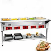 Commercial 240 V Electric Food Warmer Andndash 5 Pot Stainless 5 Pot Steam Table