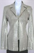 St.john Evening Womens 2pc. Taupe Silver Sequins Shimmer Jacket And Top Sz 4